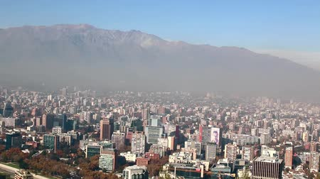 dny : Santiago capital of Chile under early morning fog