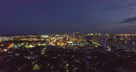 usa : Miami, florida travel destination aerial view during night time
