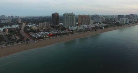 Fort Lauderdale Beach view from the ocean. Aerial video Wideo