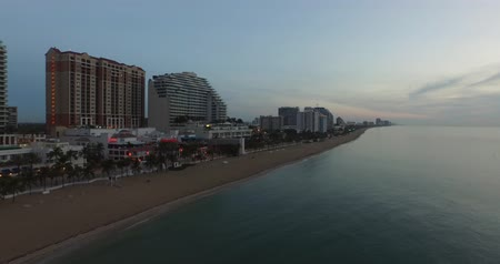 Aerial view of  Fort Lauderdale Beach at sundown. view from ocean Wideo