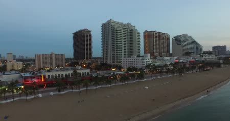 Fort Lauderdale Beach at sundown. beach and buildings. view from sea
