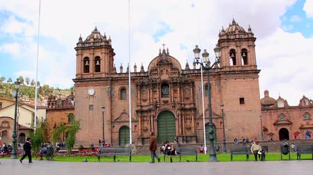 video footage of the church in Cuzco an the city center, Peru