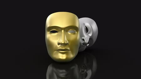 stage theater : Theater masks animation Stock Footage