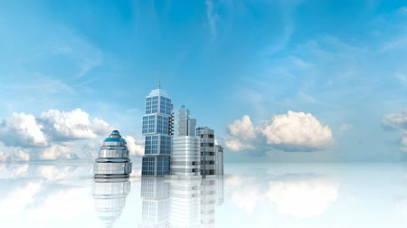 capital cities : Building business city under the sky Stock Footage