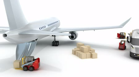 доставлять : Airport: forklifts is loading the airplane. My own design Стоковые видеозаписи