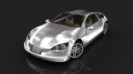 světlomety : Sport car over black. My own design. 3D animation.