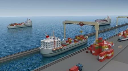 obchody : Port: Crane lifting cargo container and loading the ship