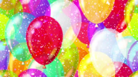 fullhd : FullHD 1920x1080 progressive seamlessly looping video of colorful flying up balloons and gently falling confetti. Holiday party animated background