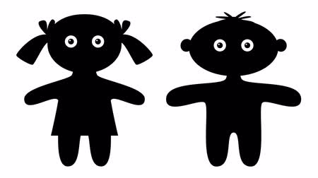 sembol : FullHD 1920x1080 Progressive Seamlessly Looping Video of Black Silhouette Children, Little Boy and Girl, Blinking and Rounded Eyes. Funny Animated Element. Alpha Matte Included Stok Video