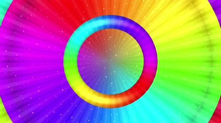 Fullhd 1920x1080 Progressive Seamlessly Looping Video of Rotating Colorful Round Rainbow, Stars and Rays. Animated Background
