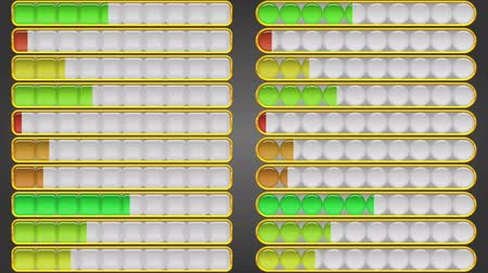 Fullhd 1920x1080 Progressive Seamlessly Looping Video of Colorful Glass Loading Progress Bars with Golden Frames Filling and Emptying, Buttons Set. Animated Element. Alpha Matte Included