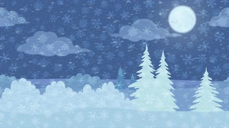 Fullhd 1920x1080 Progressive Seamlessly Looping Video of Fast Passing by Christmas Night Winter Forest with Snow, as if Looking out the Car Window. Nature Animated Background