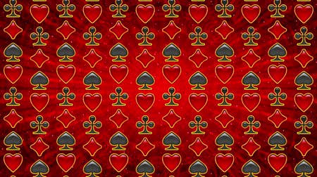 papel de parede : Fullhd 1920x1080 Progressive Seamlessly Looping Video of Moving Up and Down Columns of Card Suits Buttons with Golden Frames on Red Pattern. Animated Background. Alpha Matte Included Vídeos
