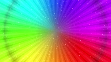 Fullhd 1920x1080 Progressive Seamlessly Looping Video of Rotating Colorful Round Rainbow with Stars and Rays, Changing Saturation from Black to Full Color. Animated Background. Stock Footage