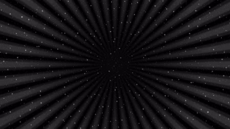 Fullhd 1920x1080 Progressive Seamlessly Looping Video of Black Sky with Stars and Rotating Rays. Abstract Animated Background.