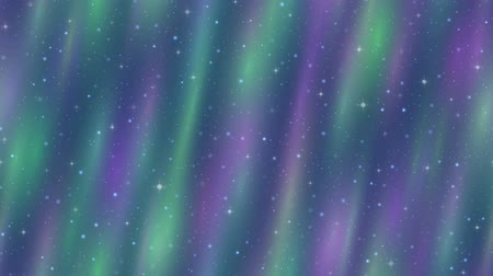 Fullhd 1920x1080 Progressive Seamlessly Looping Video of Colorful Northern Lights, Stars and Green and Lilac Cosmic Rays in Sky. Animated Background