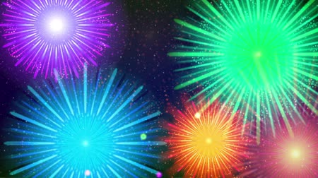Fullhd 1920x1080 Progressive Seamlessly Looping Video of Colorful Firework of Various Colors, in Night Sky with Stars. Animated Background for Holiday Design. Alpha Matte Included