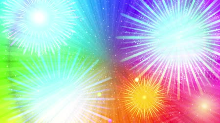 Fullhd 1920x1080 Progressive Seamlessly Looping Video of Colorful Firework of Various Colors on Rotating Round Rainbow with Stars and Rays. Animated Background for Holiday Design. Alpha Matte Included
