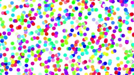 Fullhd 1920x1080 Progressive Seamlessly Looping Video of Colorful Circles Falling and Changing Colors on White. Abstract Animated Background for Holiday Design. Alpha Matte Included