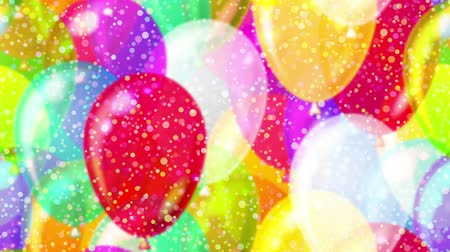 FullHD 1920x1080 progressive seamlessly looping video of colorful flying up balloons and gently falling confetti. Holiday party animated background