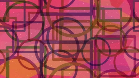 Fullhd 1920x1080 Progressive Seamlessly Looping Video with Colorful Geometrical Figures, Circles and Squares Changing in Size on Red. Abstract Animated Background.