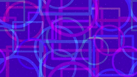 Fullhd 1920x1080 Progressive Seamlessly Looping Video with Colorful Geometrical Figures, Circles and Squares Changing in Size on Shifting Back Color. Abstract Animated Background. Stock Footage