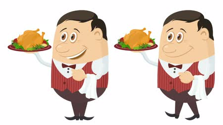 Fullhd 1920x1080 Progressive Seamlessly Looping Video, Waiters, Cartoon Characters in Red Uniform with Christmas Turkey on Trays, Coming to Serve Clients. Animated Elements. Alpha Matte Included