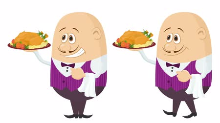 Fullhd 1920x1080 Progressive Seamlessly Looping Video, Waiters, Cartoon Characters in Uniform with Christmas Turkey on Trays, Coming to Serve Clients. Animated Elements. Alpha Matte Included Stock Footage