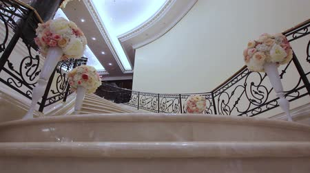 escada : stairs decorated with flowers hall Stock Footage