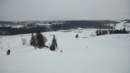 avusturya : Skiers and snowboarders in winter day.