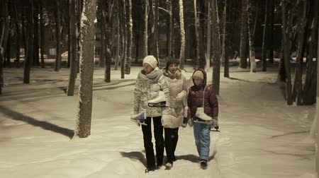 śnieżka : Happy family, going wintertime to slide, family fun outdoor. Wideo