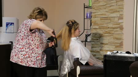 dryer : Beautiful woman at the hairdresser blow drying her hair.Hairdresser drying long brown hair with hair dryer and round brush. Stock Footage