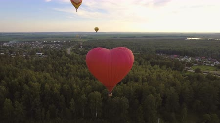 tej : Aerial view:Hot air balloons in the sky over a field in the countryside in the beautiful sky and sunset.