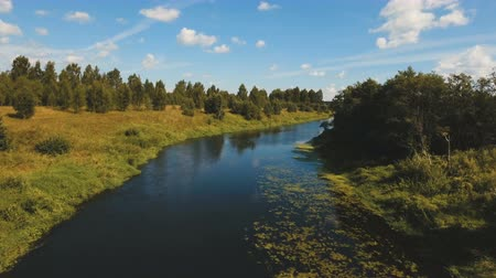 letecký pohled : Aerial view of the water surface of the river.Aerial video.