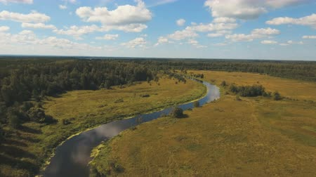 letecký pohled : Aerial view of the water surface of the river.Aerial video