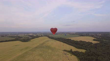 dirigível : Red balloon in the shape of a wheat heart.Aerial view:Hot air balloon in the sky over a field in the countryside, beautiful sky and sunset.Aerostat fly in the countryside. 4K video,ultra HD.