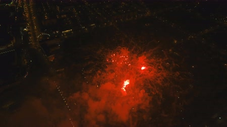 fişekçilik : Aerial view Beautiful fireworks video from the drone in the night sky on celebration. Sparks. Fireworks are a class of explosive pyrotechnic devices used for aesthetic and entertainment purposes. Aerial footage, 4k.