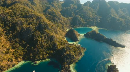 matagal : Aerial view: Twin Lagoon with blue, azure water in the middle of small islands and rocks. Beach, tropical island, sea bay and lagoon, mountains with forest, Palawan, Coron. Busuanga. Seascape, tropical landscape. Aerial video. Philippines. 4K video Travel