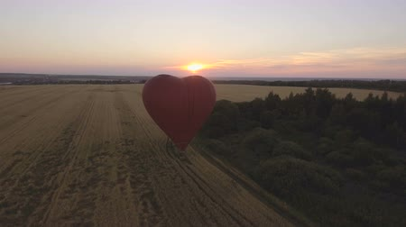tej : Red balloon in the shape of a wheat heart.Aerial view:Hot air balloon in the sky over a field countryside in the beautiful sky and sunset. 4K video,ultra HD. Stock mozgókép