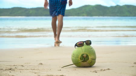 тропики : Green coconut on the sand of a tropical beach in sunglasses. Coconut funny wearing sunglasses on the beach. Fresh coconut from palm on a sandy beach. Philippines , El Nido. 4K video Travel concept. Стоковые видеозаписи