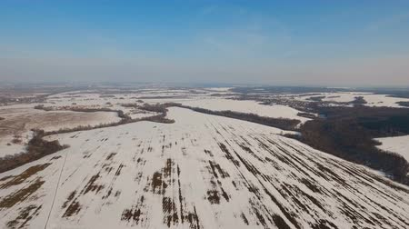 нетронутый : The field covered with snow in a winter season. Aerial view: Winter landscape countryside, field. Feld covered with frost snow. Aerial footage, 4K video.
