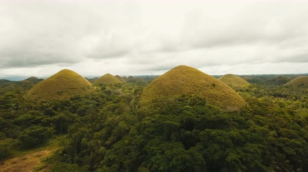 şeklinde : Amazingly shaped Chocolate hills on sunny day on Bohol island, Philippines. Aerial view Chocolate Hills in Bohol, Philippines are earth mounds scattered all over the town of Carmen. 4K video. Travel concept. Aerial footage. Stok Video