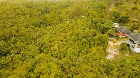 zipline : People have fun a zip line through a canyon with a river in the rainforest jungle. Aerial view, tourist attraction at the zipline attraction in the jungle on the island of Bohol. 4K video. Travel concept. Aerial footage. Stock Footage