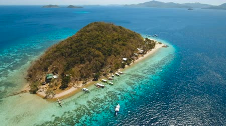 palawan : Aerial view of tropical beach on the island Banana, Philippines. Beautiful tropical island with sand beach, palm trees. Tropical landscape: beach with palm trees. Seascape: Ocean, sky, sea. 4K video. Travel concept. Aerial footage. Stock Footage