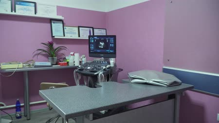 sonography : Doctors office with ultrasound equipment. Interior of examination room with ultrasonography machine in hospital. Ultrasound Machine, Medical Device.