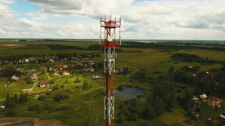 vysílač : Aerial view Cell phone tower. Tower of communications with lot of different antennas. Telecommunication tower. Aerial footage, 4K video