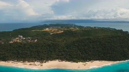 boracay : Aerial view of beautiful tropical island with white sand beach, and tourists. Puka shell beach. Tropical lagoon with turquoise water and white sand. Beautiful sea, beach, resort. Beautiful tropical beach of Boracay island. Seascape: Ocean and beautiful be