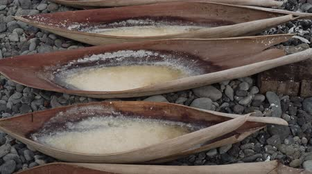 sea salt : Production of sea salt in the Bali,Indonesia. Salt crystallizes out of the ground in salt farm, filled with natural salt from the sea. Stock Footage