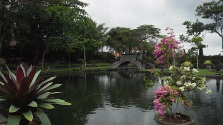 hind : Hindu Balinese Water Palace Tirta Gangga with old bridge on Bali island, Indonesia. Tirta Gangga the former royal water palace is a maze of pools and fountains surrounded by a lush garden and stone carvings and statues. Dostupné videozáznamy