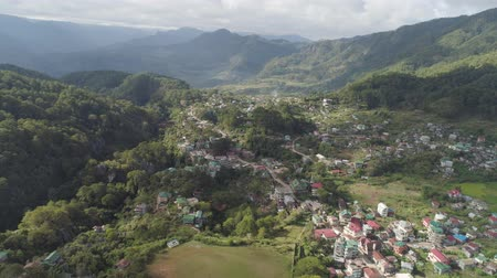 tartomány : Aerial view town of Sagada, located in the mountainous province of Philippines. City in the valley among the mountains covered with forest. Sagada-Cordllera region-Luzon island.